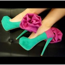 Fashionable Green & Rose Big Flower High Heel Shoes