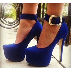 Magnificent Blue Ankle Strap Platform Heels