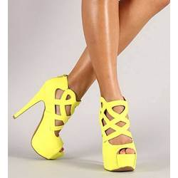 Fancy Yellow Cut-Outs Peep Toe Sandals