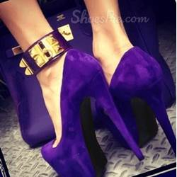 Elegant Purple Suede Ankle Strap Platform Heels