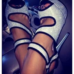 Fashionable Gray & Black Contrast Colour Peep Toe Cut-Outs Sandals