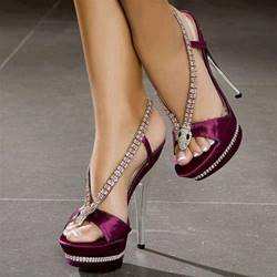 Shoespie Purple Rhinestone Open Toe Dress Sandals