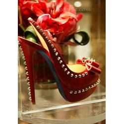 Gorgeous Red Suede Peep Toe Bowtie Decoration High Heel Shoes