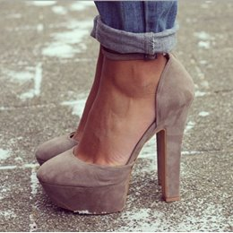 Gorgeous Camel Suede Solid Colour Chunky Heels