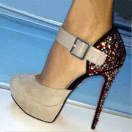 Fashionable Contrast Color Rhinestone Stiletto Heel Ankle Strap Shoes