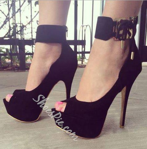 2f43676cdfa Shoespie Sexy Black Suede Peep Toe Ankle Strap High Heel Shoes