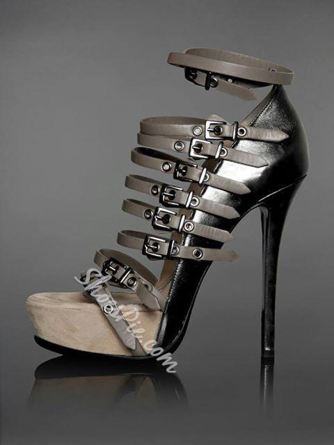 Chic Gray Buckle Decoration Ankle Strap Platform Sandals