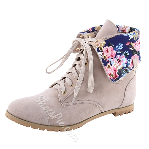 Comfortable Flat Heel Coppy Leather Lace-Up Martin Boots