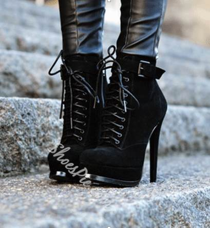 Black Coppy Leather Lace-Up Stiletto Heels Ankle Boots