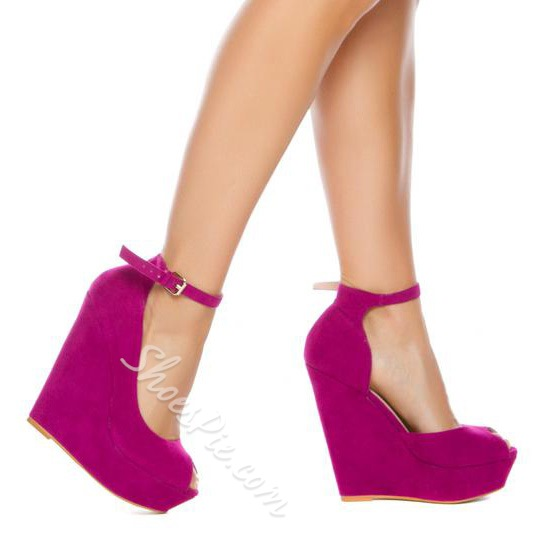 Concise Pure Rose Red Ankle-Wrap Platform Wedge Heels