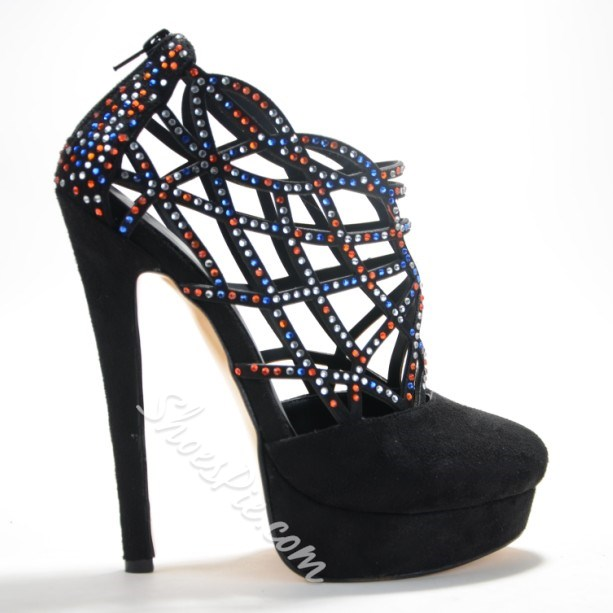 Chic Cut-Outs Rhinestone Decoration Ankle Boots