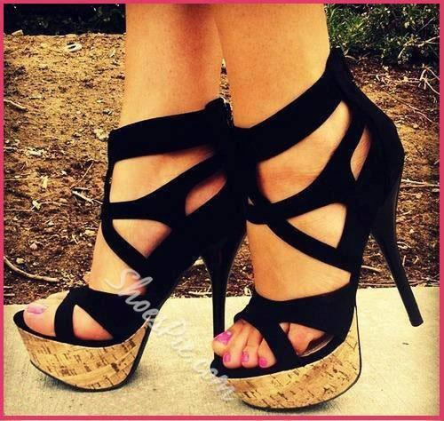 Sexy Black Suede Cut-Outs Wood Grain Platform High Heel Shoes