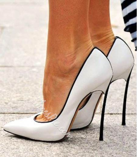 Chic White Coppy Leather Pointed Toe Stiletto Heels