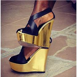 Fashionable Black Coppy Leather Wedge Sandals
