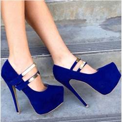Gorgeous Blue Suede Platform High Heel Shoes with Double Ankle Strap Decoration