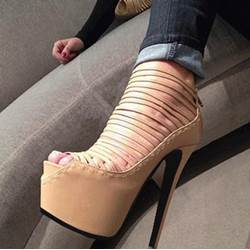 Fashionable Camel Suede Cut-Outs Platform Sandals