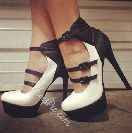 Fashionable Black & White Contrast Colour Coppy Leather Buckle Decoration High Heel Shoes