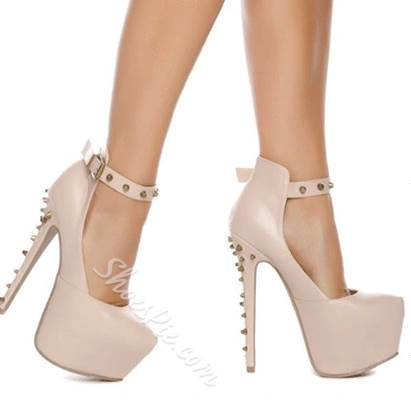 Gorgeous White Coppy Leather Rivets Decoration Ankle Strap High Heel Shoes