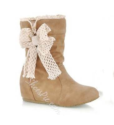 New Arrival PU Round Toe Lovely Bowtie Short Boots