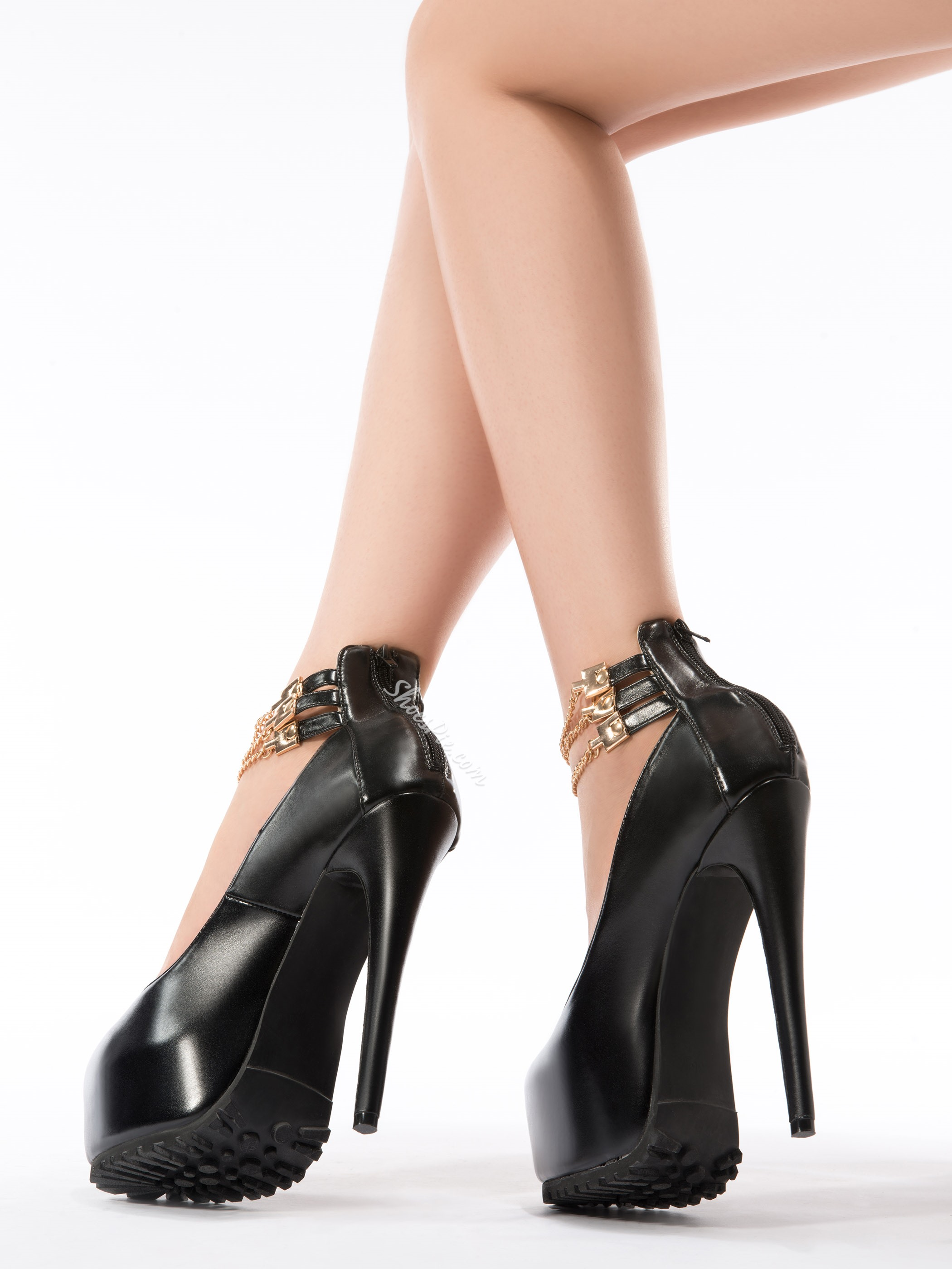 Fashionable Black Suede Metal Ankle Strap High Heel Shoes
