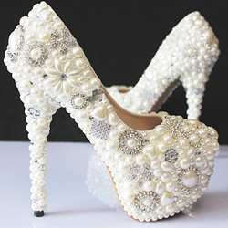 Elegant Rhinestone Pearls Bride Shoes