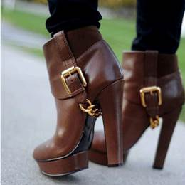 Shoespie Chic Brown Chunky Heel Martin Boots