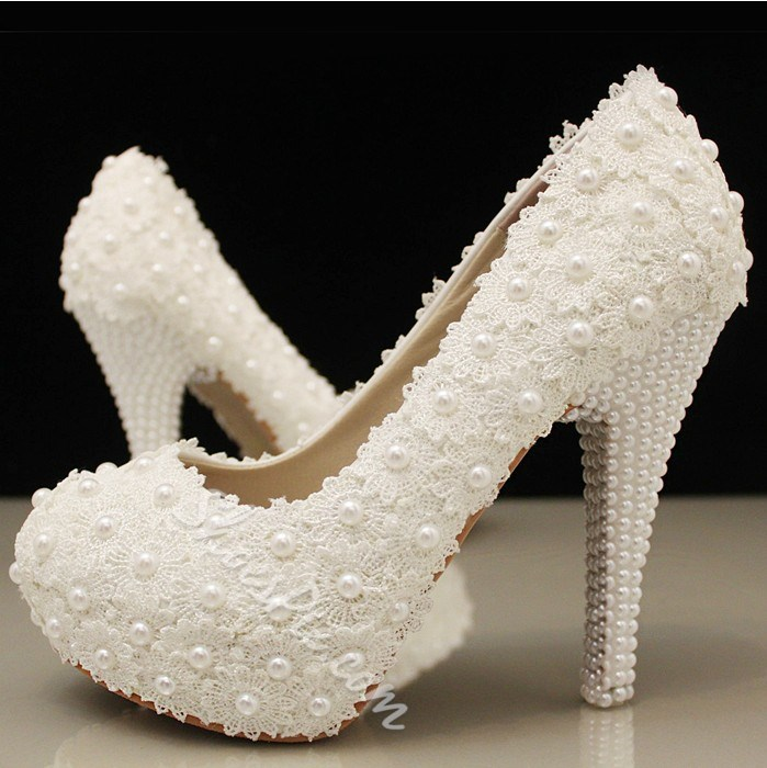 White Lace Rhinestones Pearls Wedding Heels