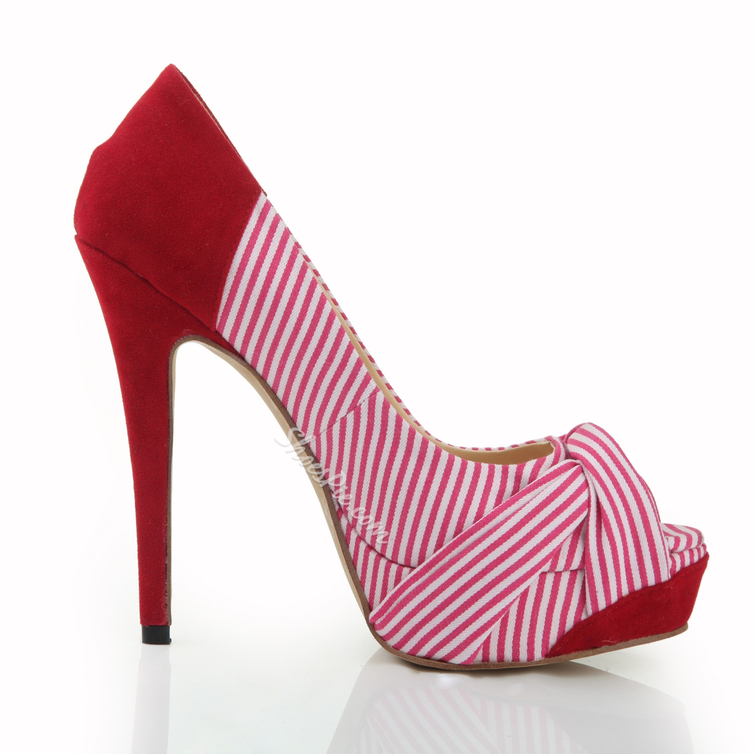 Shoespie Beautiful Peep Toe Red Stripe Stiletto Heels