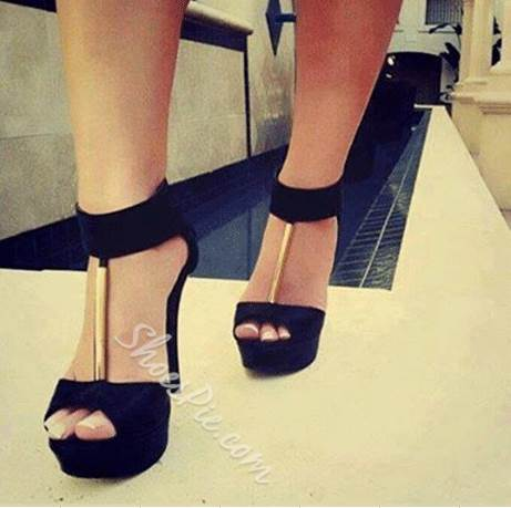 0cf348634fba Fashionable Black Suede Peep Toe Ankle Strap High Heel Sandals ...