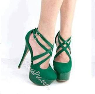 6db72d68169 Chic Green Suede Cross Ankle Strap High Heel Shoes- Shoespie.com