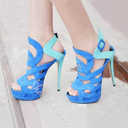 Fashionable Blue &amp Green Contrast Colour Cut-Outs High Heel