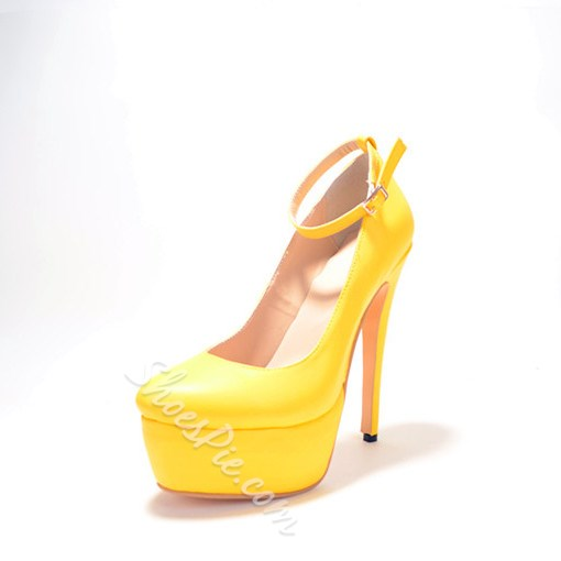 Cool Show Yellow Suede Thick Platform High Heel Shoes