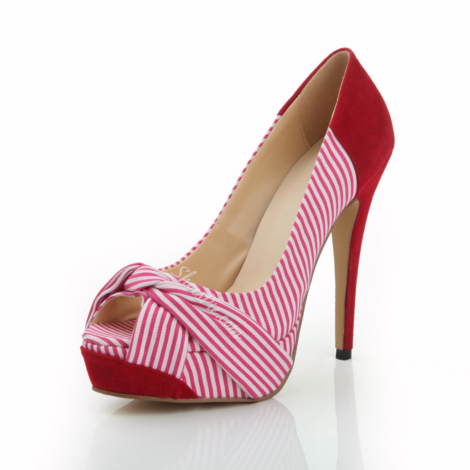 Beautiful Peep Toe Red Stripe Stiletto Heels