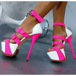 Chic Contrast Colour Buckle High Heel Sandals