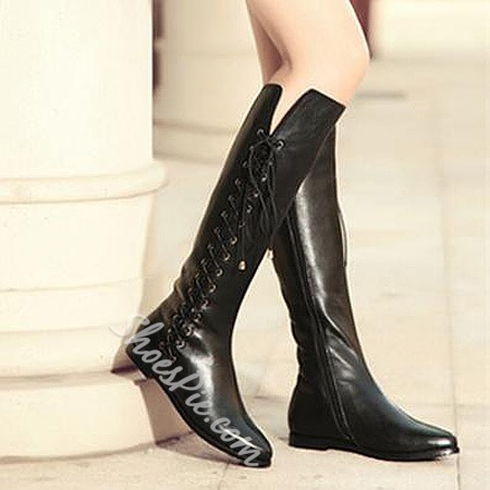 Cool Cow Leather Lace-Up Flat Boots