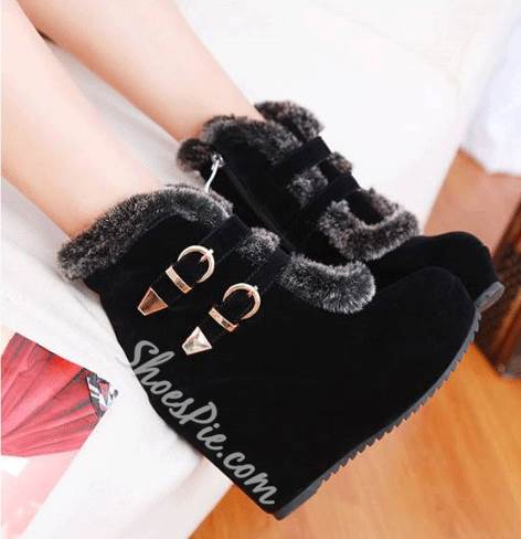Comfortable Wedge Heel Double Buckle Short Boots