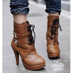 Fashionable Brown Coppy Leather Side Buckle & Lace-Up High Heel Boots