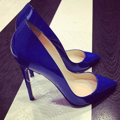 Gorgeous Blue Coppy Leather Pointed Toe High Heel Shoes