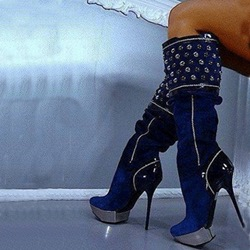 Glaring Blue Suede Stiletto Heel Knee High Boots with Rhinestone Decoration