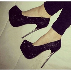 Fashionable Black Glitter Platform Heels