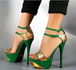 Shoespie Gorgeous Green & Golden Contrast Color High Heel Sandals with Double Ankle Strap