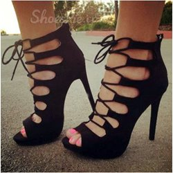 Fashionable Suede Cut-Outs Lace-Up High Heel Sandals