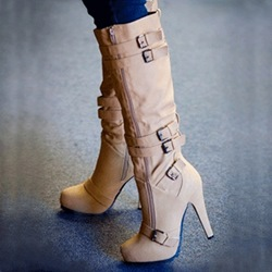Shoespie Camel Coppy Stiletto Heel Knee High Boots