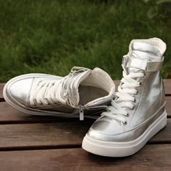 Shining Color Round-Toe High-Top Canvas Shoes