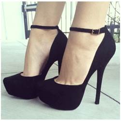 Fashionable Black Genuine Suede Ankle Strap High Heel Shoes