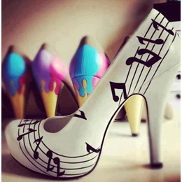 Fashionable White Coppy Music Score Printed High Heel Shoes
