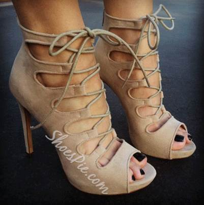 Fashionable Suede Cut-Outs Lace-Up High Heel Sandals- Shoespie.com