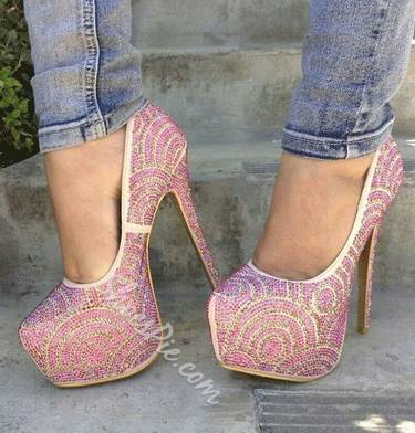 Gorgeous Pink Rhinestone Decoration High Heel Shoes