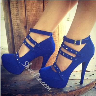 Fashionable Blue Suede Ankle Strap Rivets Decoration High Heel Shoes