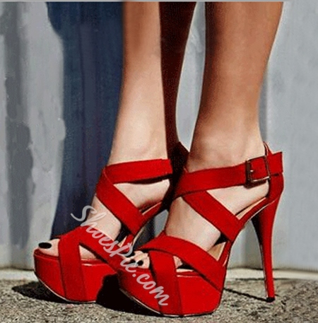 Courtlike Red Suede Cut-Outs Platform Sandals